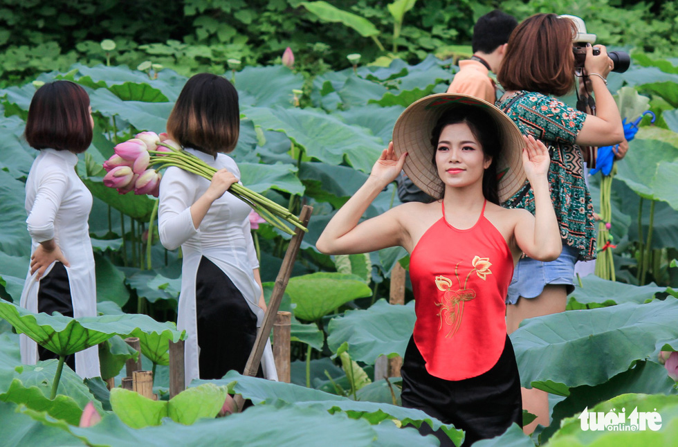 A girl in ao yem, a traditional Vietnamese bodice, poses with lotus flowers in Hanoi. Photo: Tuoi Tre