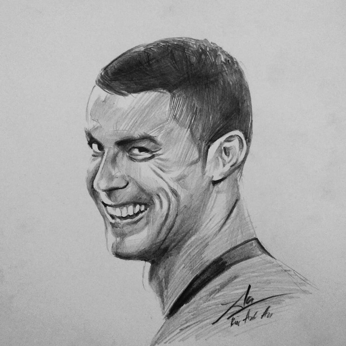 The mysterious smile of Ronaldo after he netted Spain is depicted in this drawing posted on Bui Anh An's Facebook.