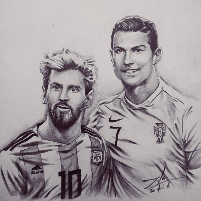 Messi and Ronaldo stands side by side in their national jerseys in this drawing posted on Bui Anh An's Facebook.