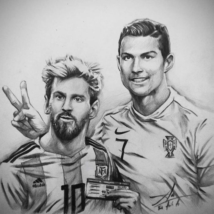 Messi holds an air ticket standing by Ronaldo's side in this drawing posted on Bui Anh An's Facebook.