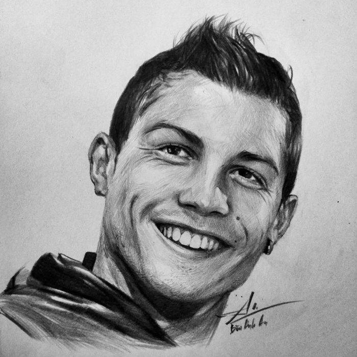 Ronaldo's face from a different angle is depicted in this drawing posted on Bui Anh An's Facebook.
