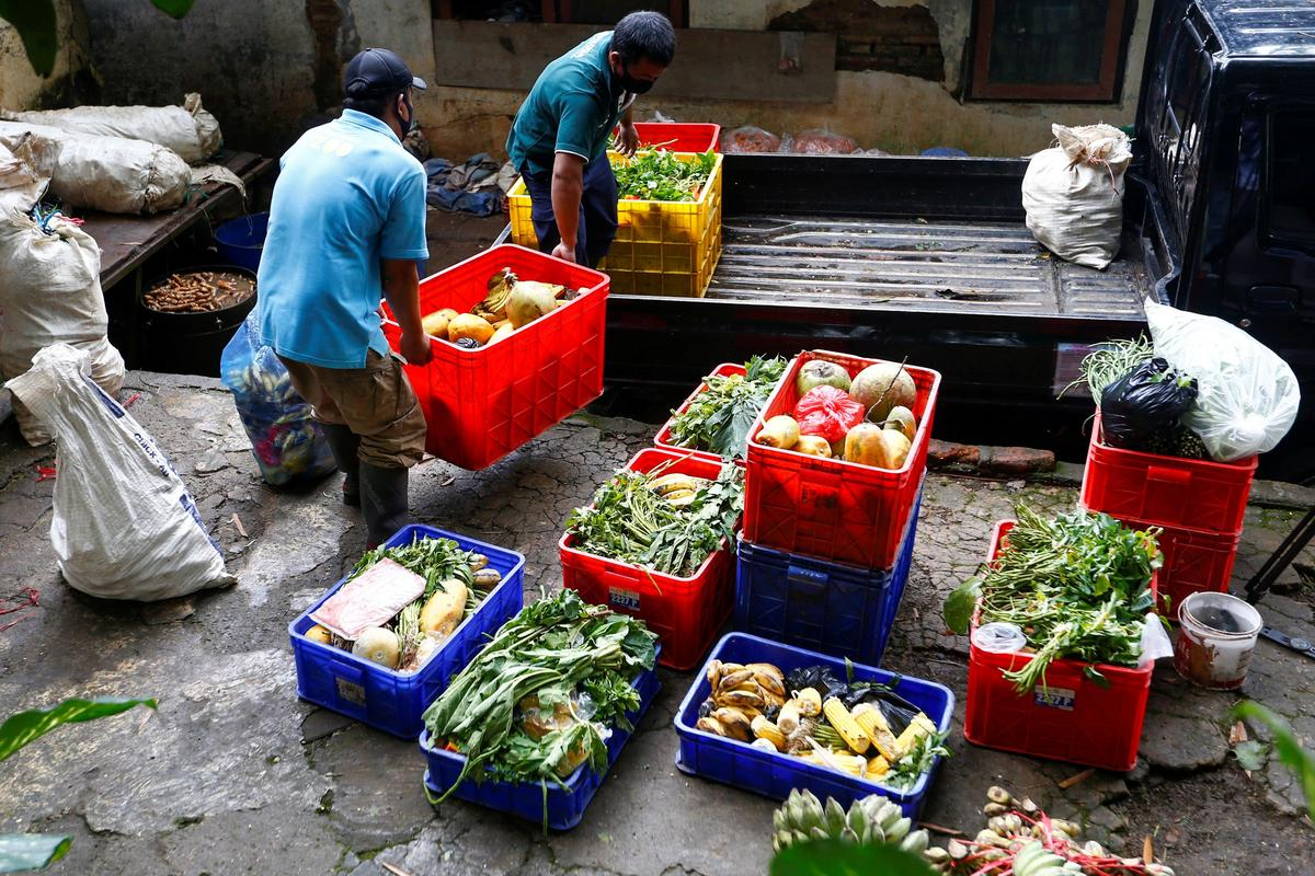 Workers carry fruits and vegetables for animals before distributing the food at the zoo, amid the coronavirus disease (COVID-19) outbreak in Bandung, West Java Province, Indonesia, May 18, 2020. Photo: Reuters