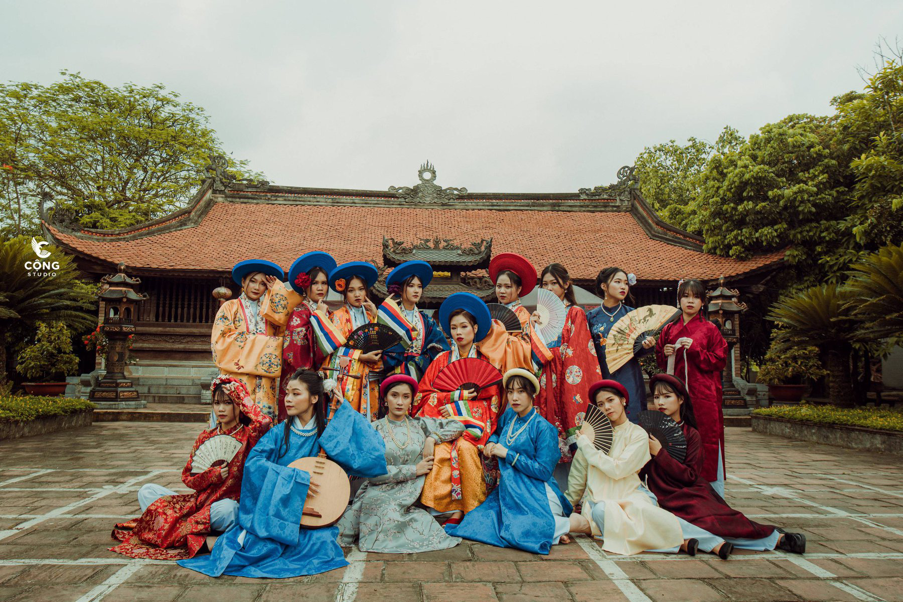 A group of female students pose for a photo in the yard at Tran Temple in Nam Dinh Province, Vietnam in this supplied yearbook photo.