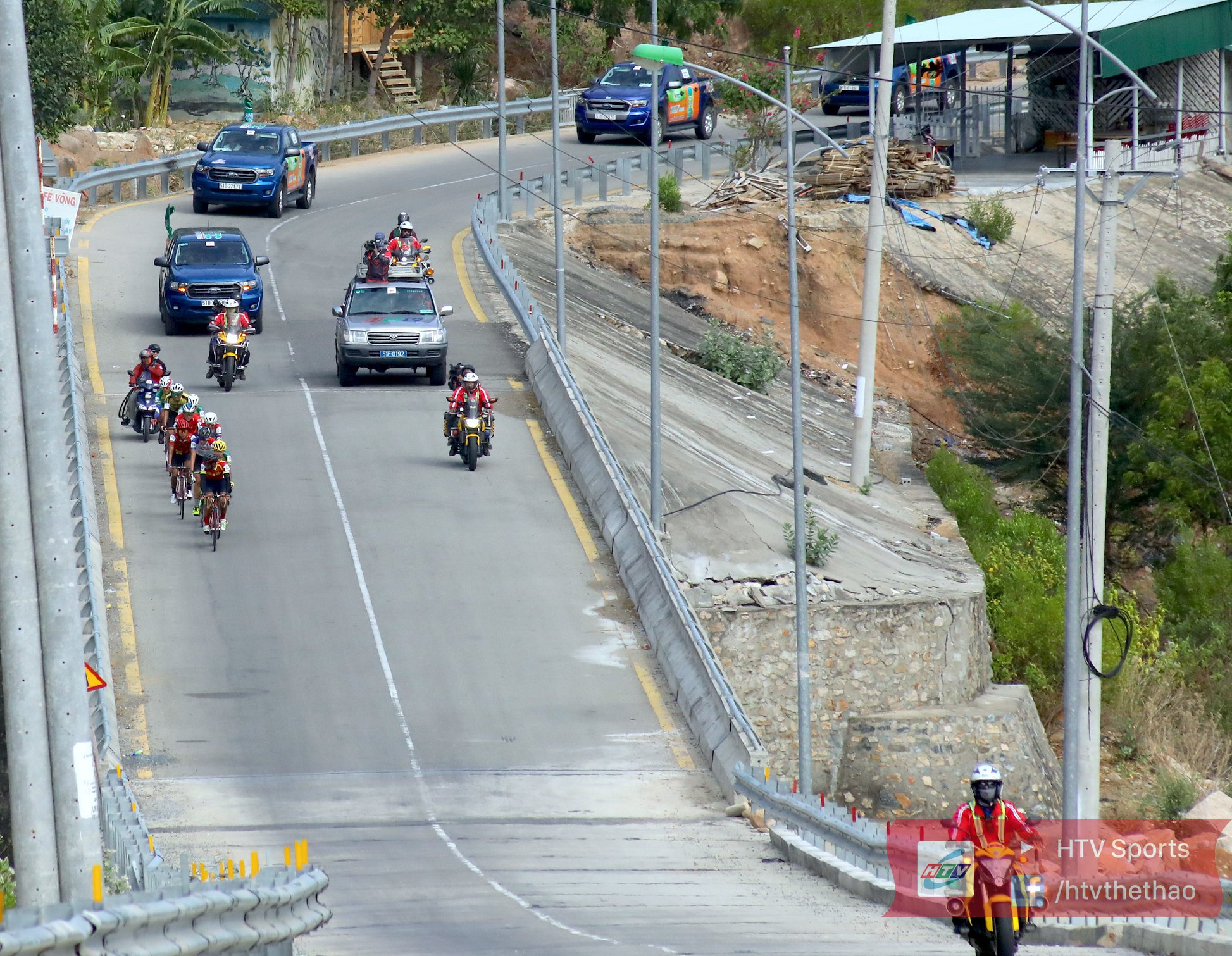 Cyclists race in the 14th stage of the annual HTV Cup organized by Ho Chi Minh City Television, June 3, 2020. Photo: HTV