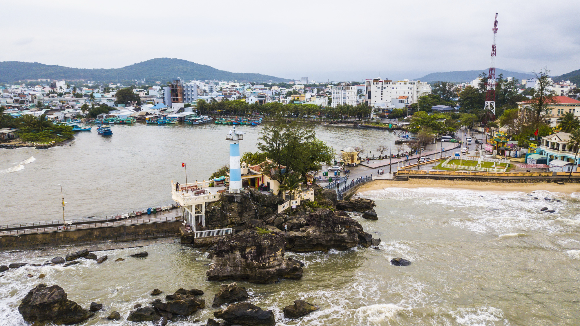 Dinh Cau (Cau Temple) in Duong Dong Town, Phu Quoc Island off Kien Giang Province, Vietnam is seen in this aerial photo. Photo: Quang Dinh / Tuoi Tre