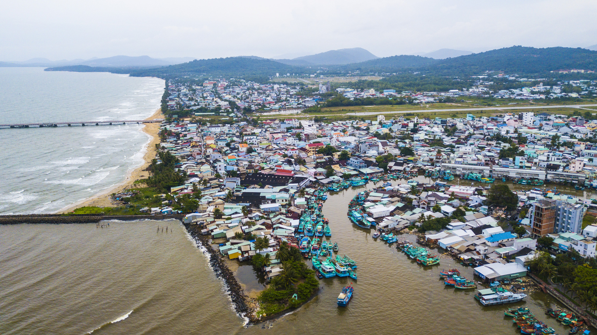 An aerial photo of Duong Dong Town, Phu Quoc Island off Kien Giang Province, Vietnam. The island is being considered as a possible destination for welcoming international tourists to Vietnam following the novel coronavirus disease (COVID-19) pandemic. Photo: Quang Dinh / Tuoi Tre