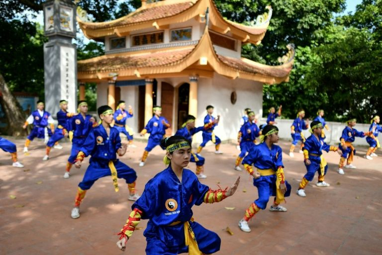 Thien Mon Dao martial arts students practice inside the Bach Linh temple compound at Du Xa Thuong village in Hanoi, Vietnam. Photo: AFP