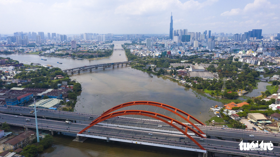 An aerial view of the Saigon River's section passing through Binh Thanh District in Ho Chi Minh City, Vietnam is seen in this undated file photo. Photo: Quang Dinh / Tuoi Tre