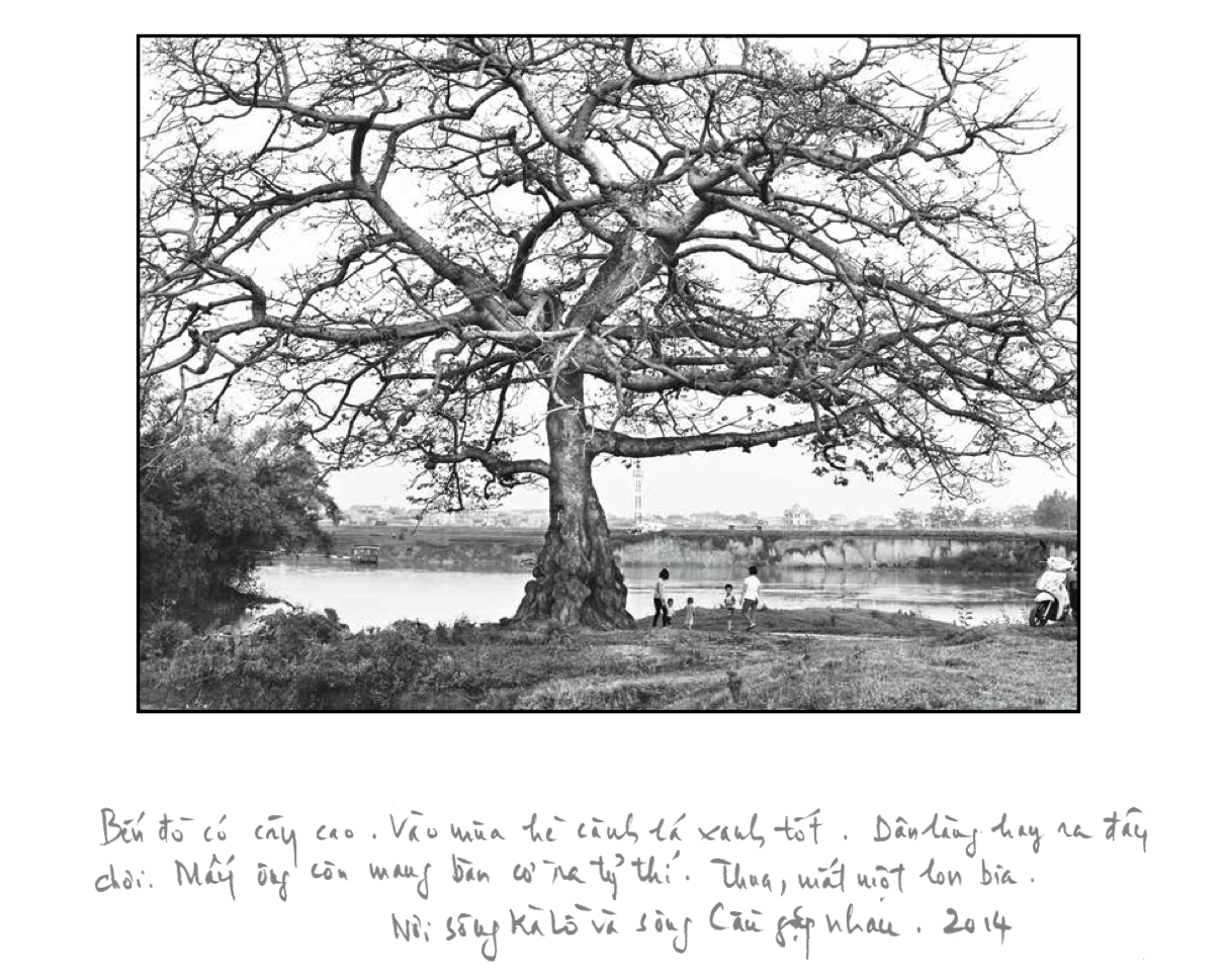 Artist Nguyen Huu Tuan's handwritten notes are seen in a page from his unpublished photo book 'Sang song' in a supplied photo.