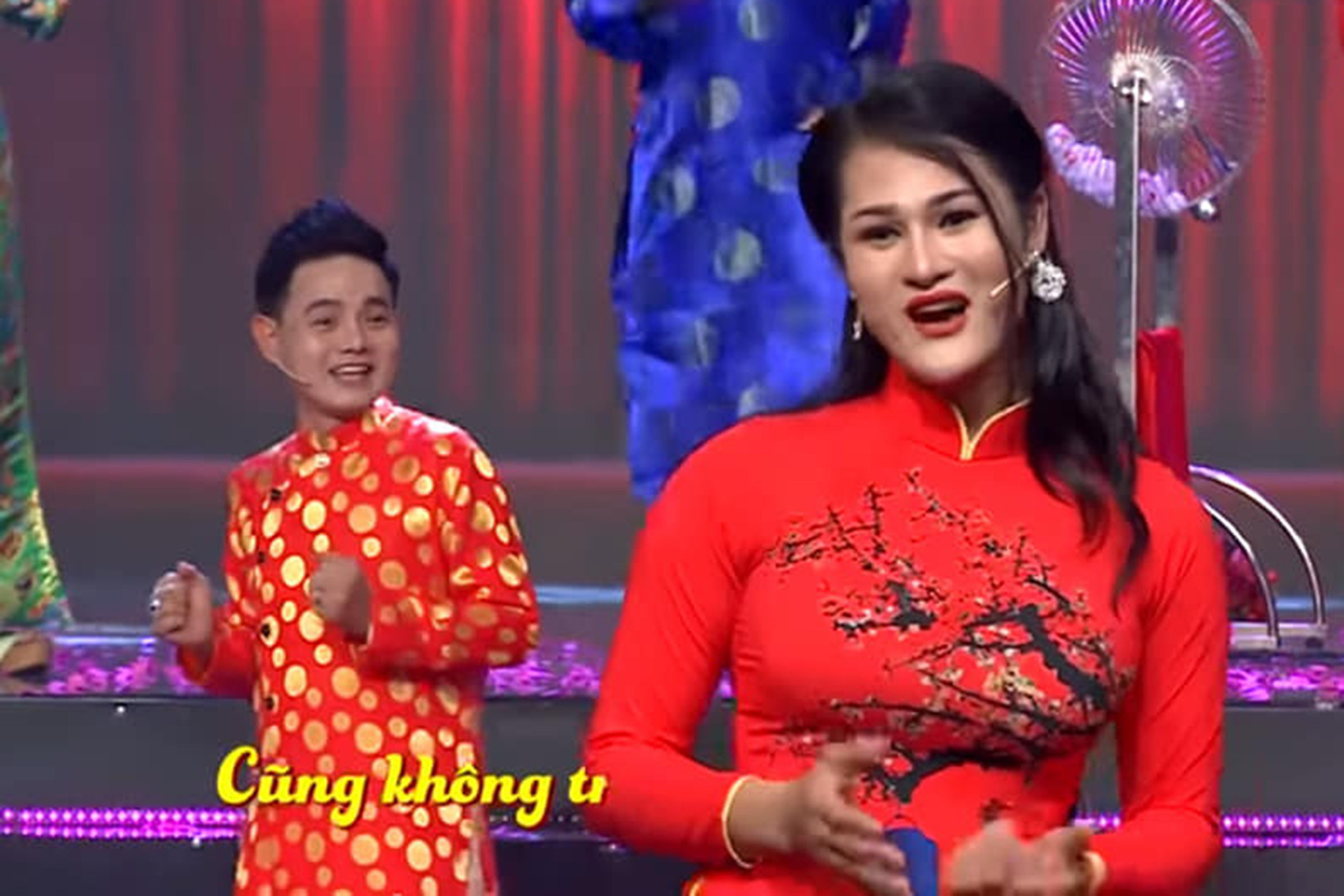 Du Kha Ai (left) is seen attending a singing competition on television in this supplied photo.