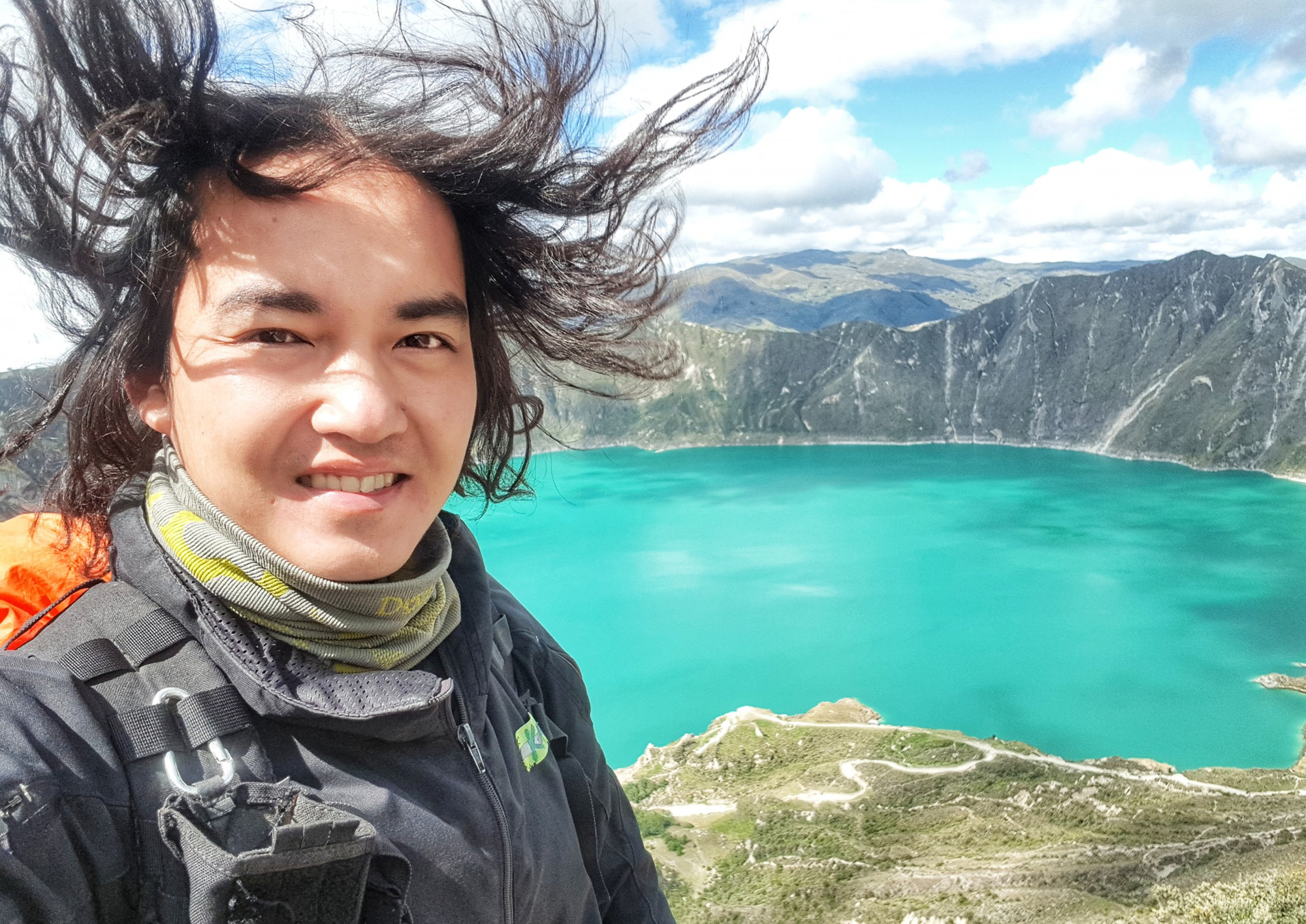 Vietnamese globetrotter Tran Dang Dang Khoa during his journey around the world is seen in a photo posted to his verified Facebook account.