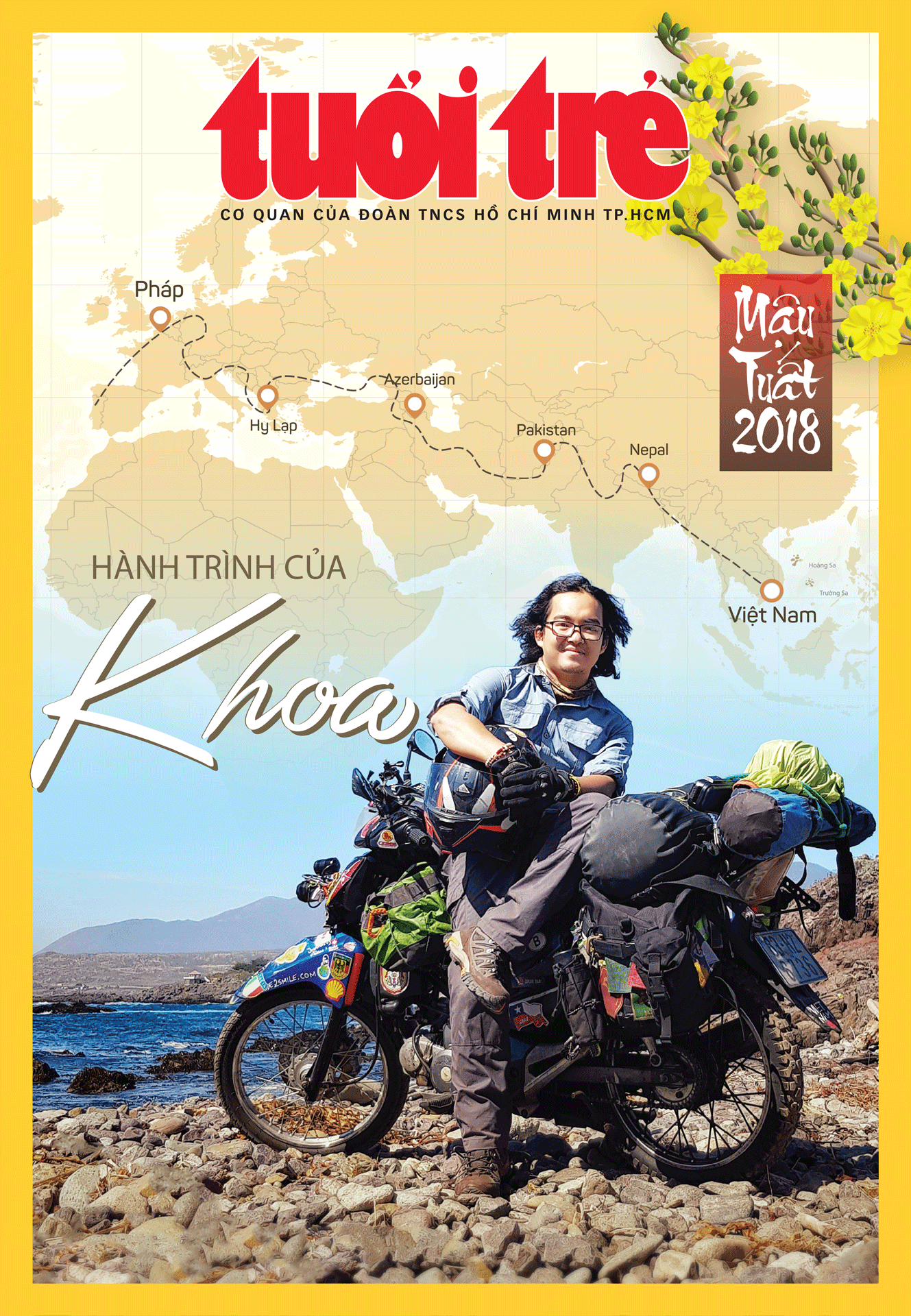 Vietnamese globetrotter Tran Dang Dang Khoa appears on the cover of the Tuoi Tre daily's special issue for the 2018 Lunar New Year.