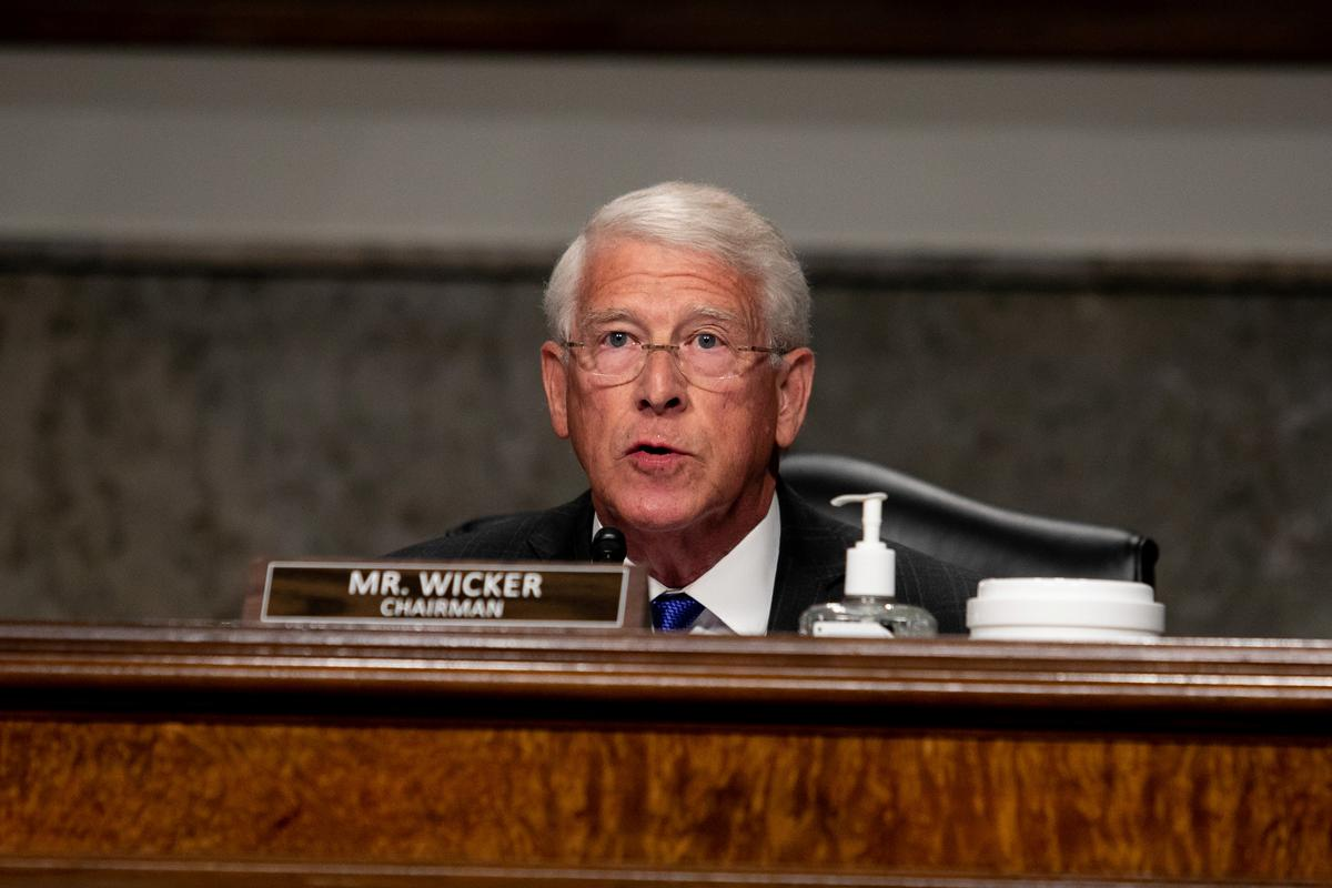 Senate Commerce, Science and Transportation Committee Chairman Roger Wicker (R-MS) speaks during a hearing of the Senate Commerce, Science, and Transportation Committee on Capitol Hill in Washington, U.S., June 17, 2020. Photo: Reuters