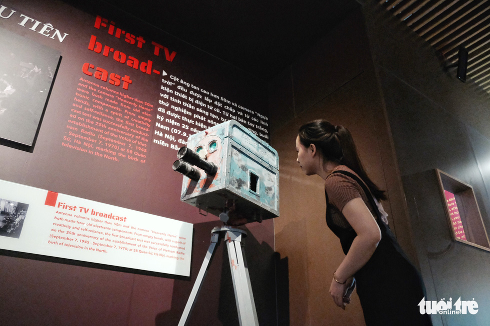 A guest views the first camera in Vietnam's press history on display at the Vietnam Press Museum in Hanoi in this undated photo. Photo: Song La / Tuoi Tre