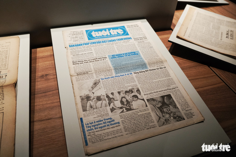 An old issue of the Tuoi Tre daily on display at the Vietnam Press Museum in Hanoi in this undated photo. Photo: Song La / Tuoi Tre