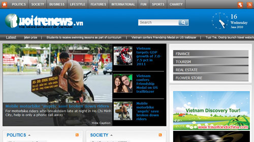 Tuoi Tre News's first interface as captured in June 2010.