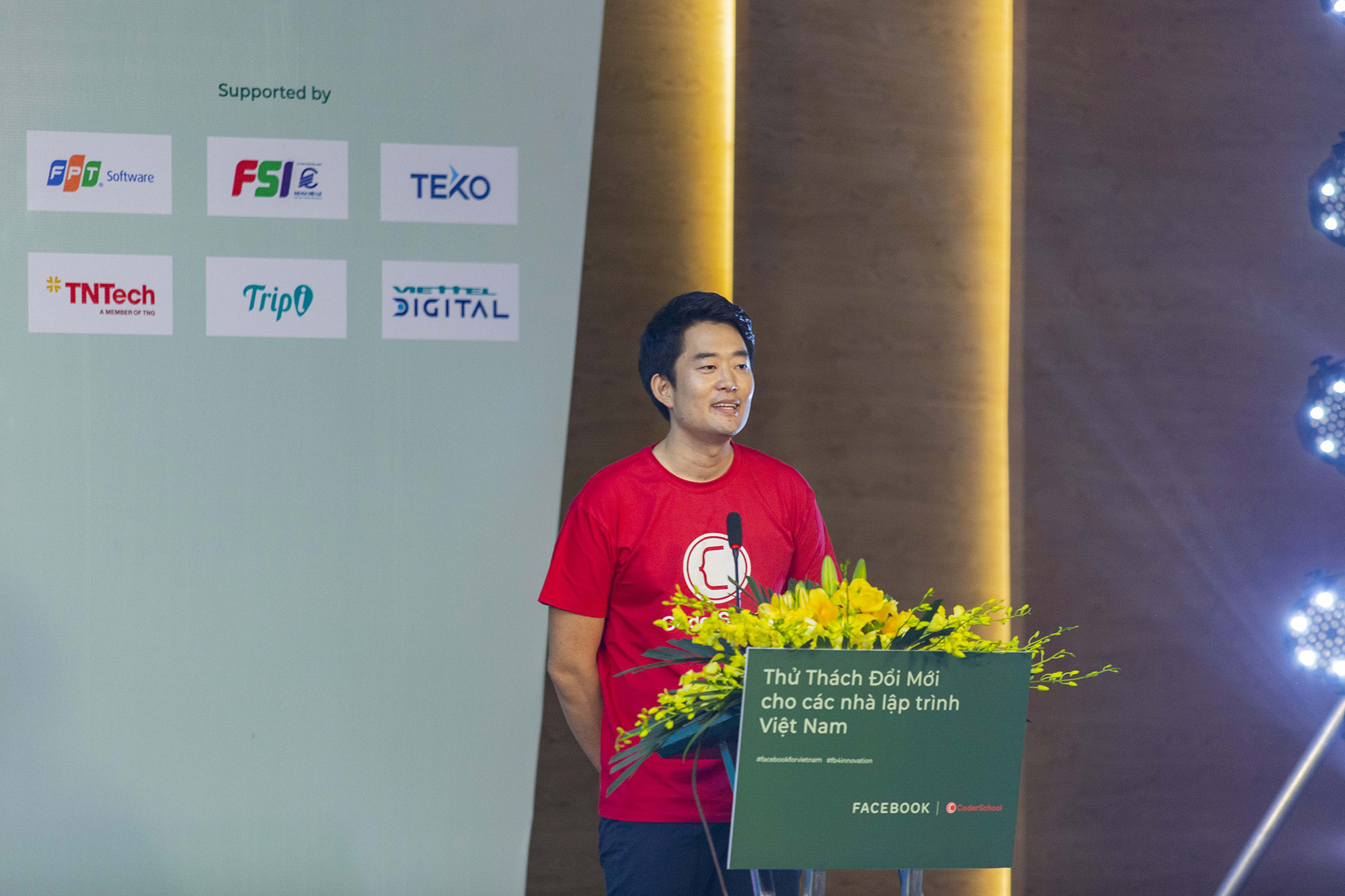 Charles Lee, CEO and co-founder of CoderSchool, speaks at the launch of 'Developer Circles Vietnam Innovation Challenge' in Hanoi, Vietnam, June 23, 2020.