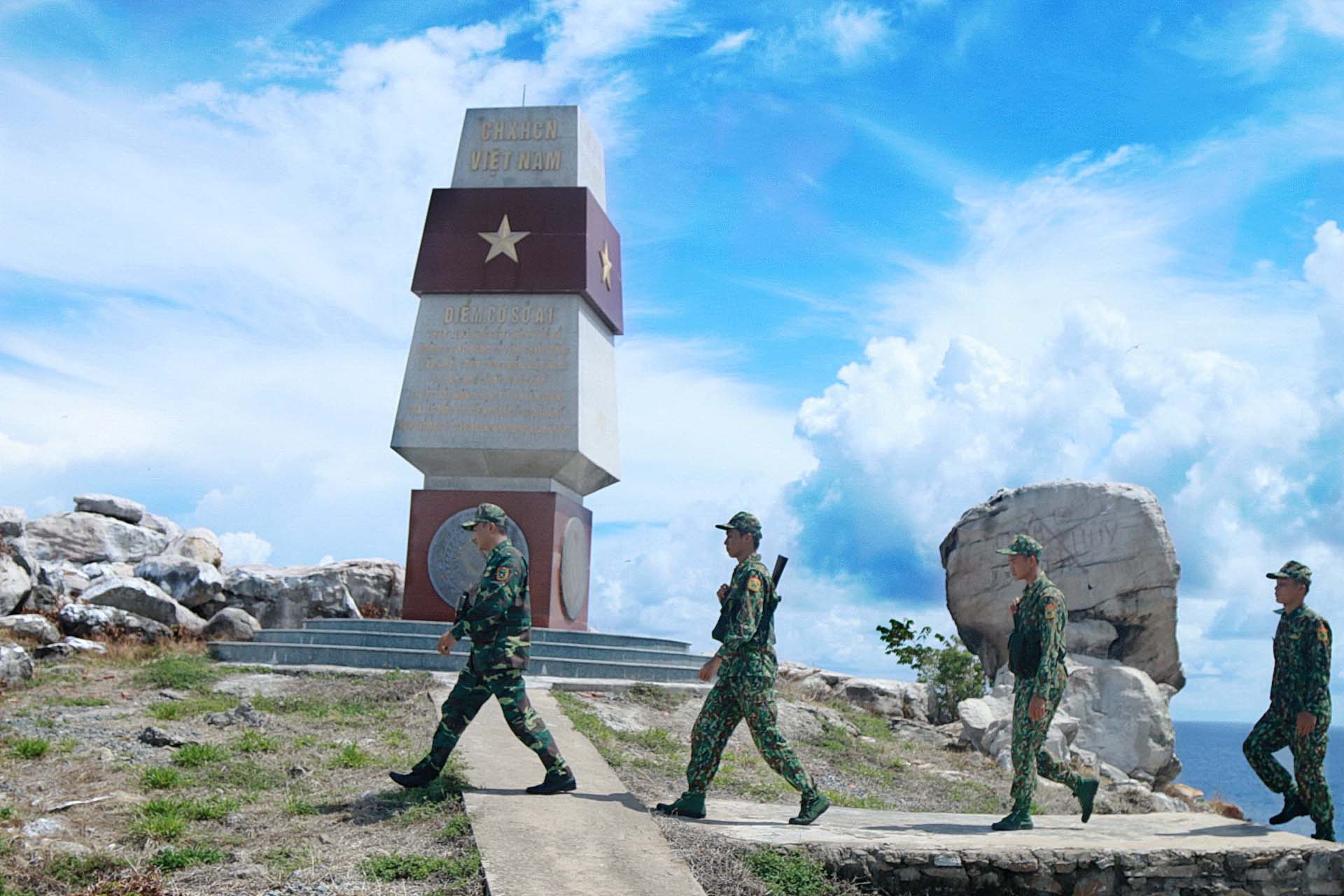 <em>Border guards patrol the A1 point, a landmark of the Vietnamese territorial sea baseline on Hon Nhan Island, a part of the Tho Chau archipelago off Kien Giang Province, Vietnam.</em>