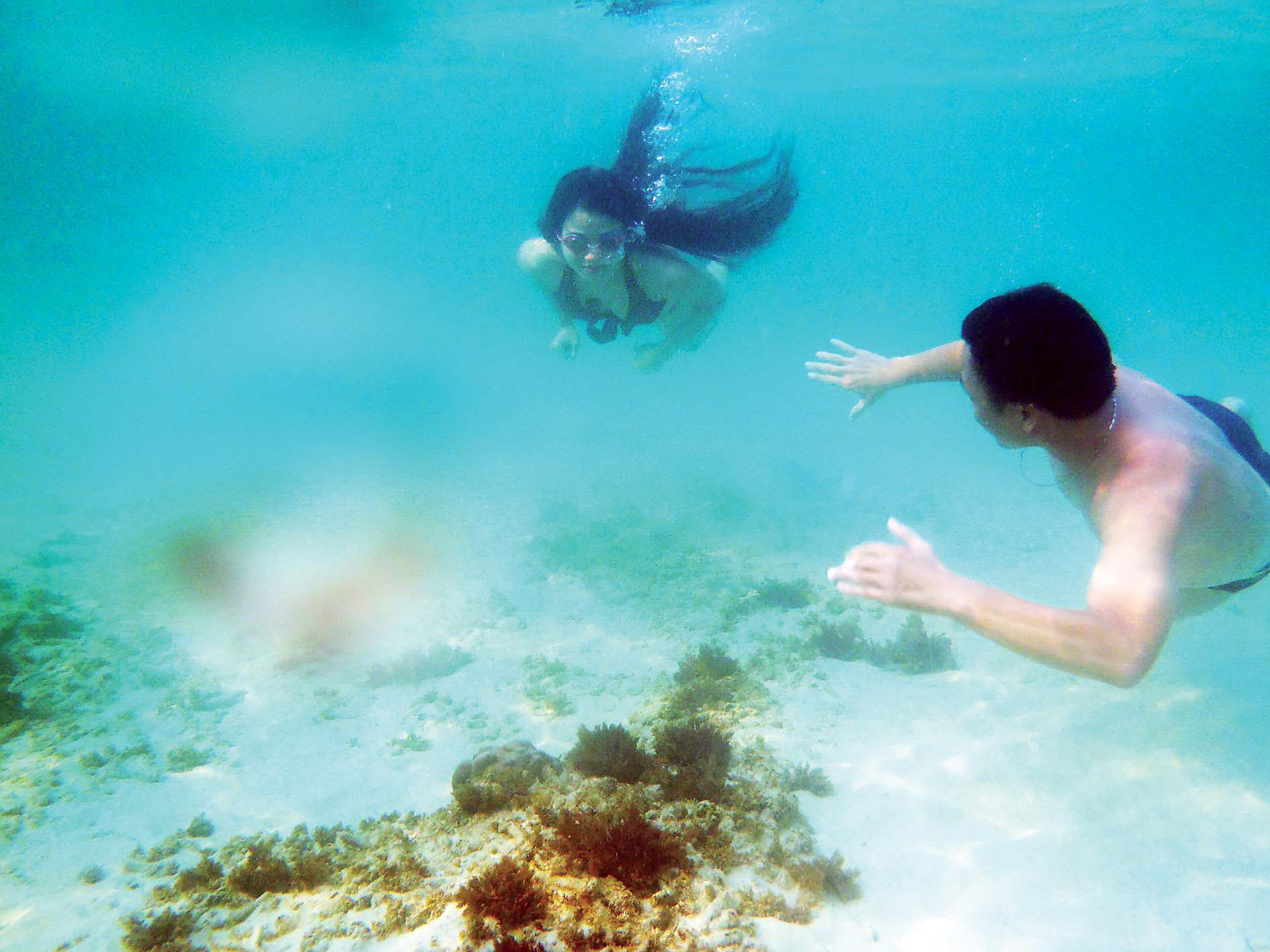 Tourists enjoy coral reef diving at Quyet Tien beach near Tho Chau archipelago off Kien Giang Province, Vietnam.