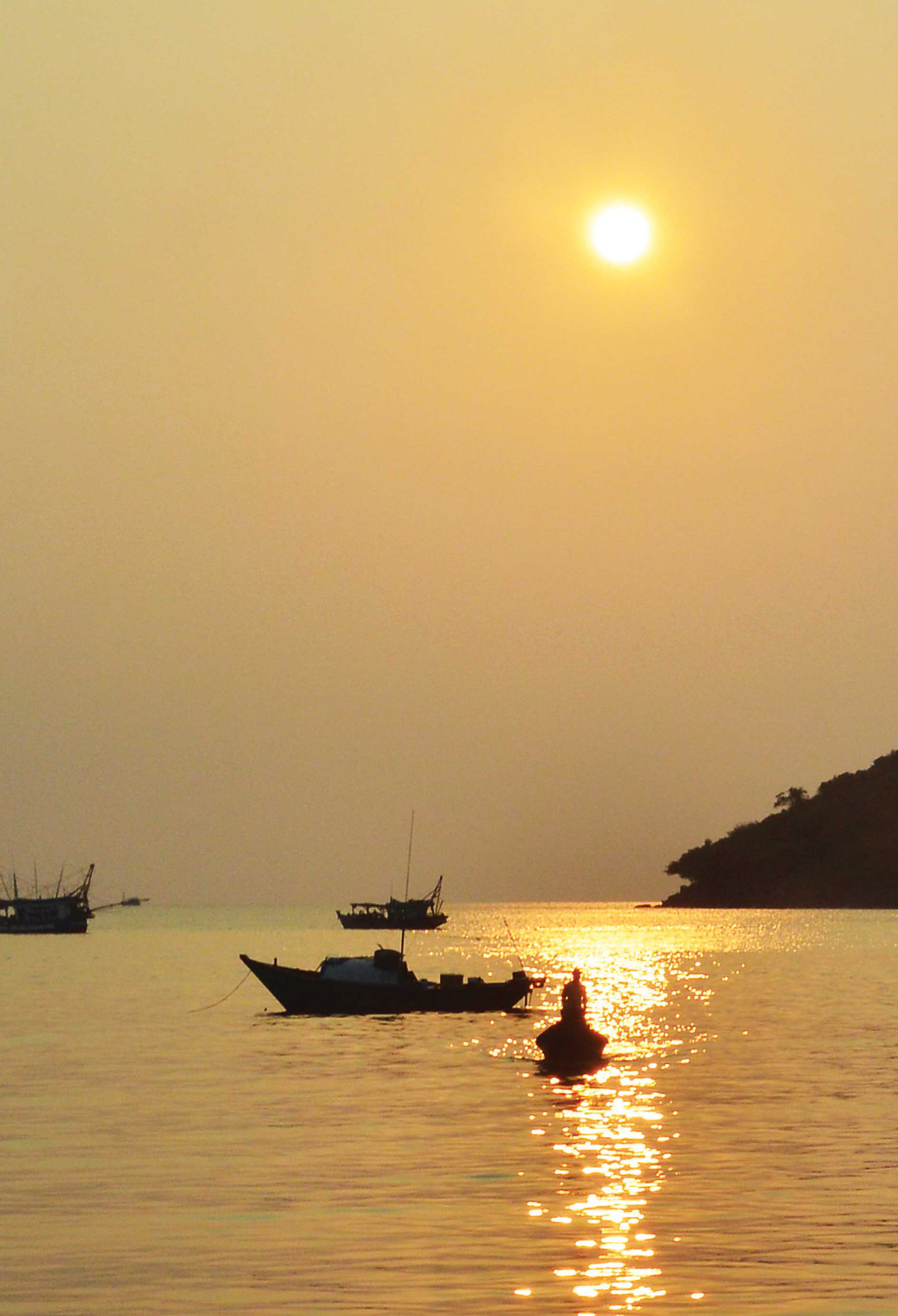 A sunset as seen from Tho Chau Islands off Kien Giang Province, Vietnam.