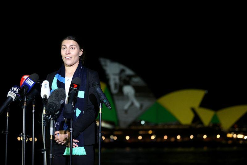 Australian women's national soccer team player Stephanie Catley speaks to the media as Sydney Opera House lights up in celebration of Australia and New Zealand's joint bid to host the FIFA Women's World Cup 2023, in Sydney, Australia, June 25, 2020. Photo: Reuters