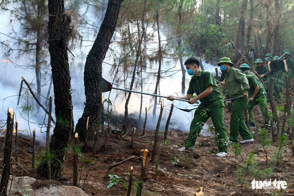 Police officers and soldiers help put out a forest fire in Nghe An Province, Vietnam. Photo: Doan Hoa / Tuoi Tre