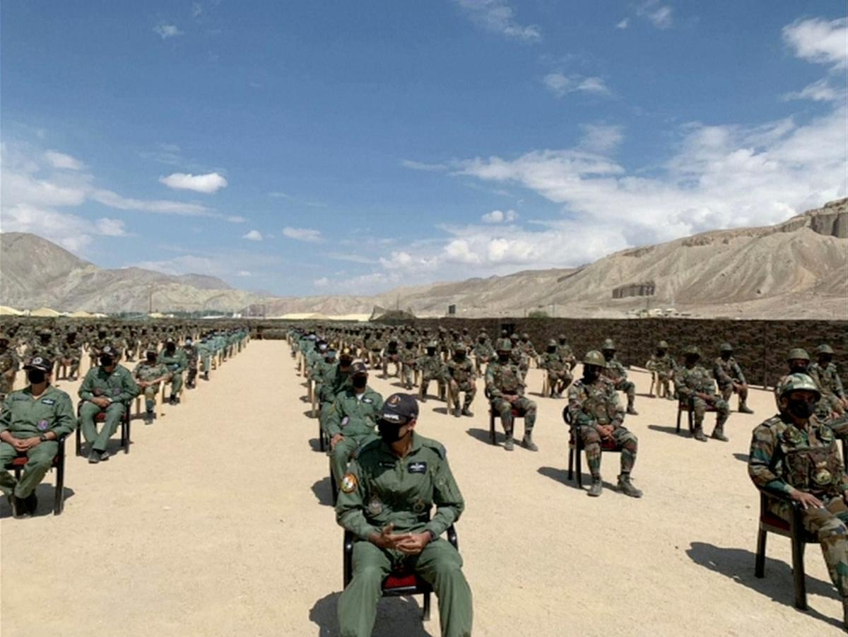 Soldiers await a visit by India's Prime Minister Narendra Modi in India's Himalayan desert region of Ladakh, India, July 3, 2020, in this still image taken from video. Photo: Reuters