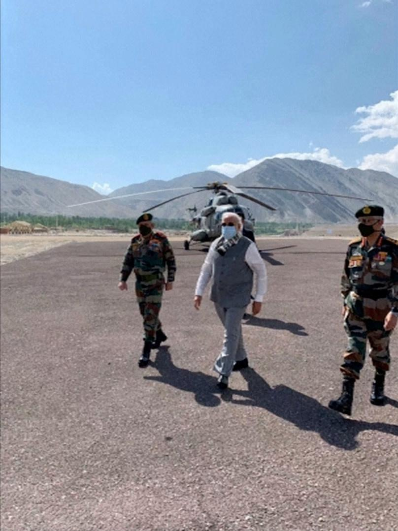 India's Prime Minister Narendra Modi visits India's Himalayan desert region of Ladakh, India, July 3, 2020, in this still image taken from video. Photo: Reuters