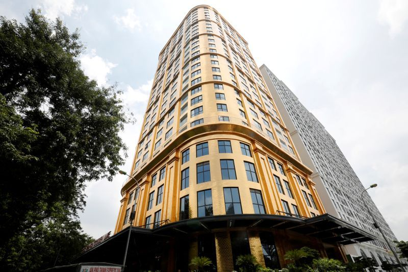 A view of the newly-inaugurated Dolce Hanoi Golden Lake hotel, which features gold plated exteriors and interiors, after the government eased nationwide social distancing following the global outbreak of the coronavirus disease (COVID-19), in Hanoi, Vietnam. Photo: Reuters