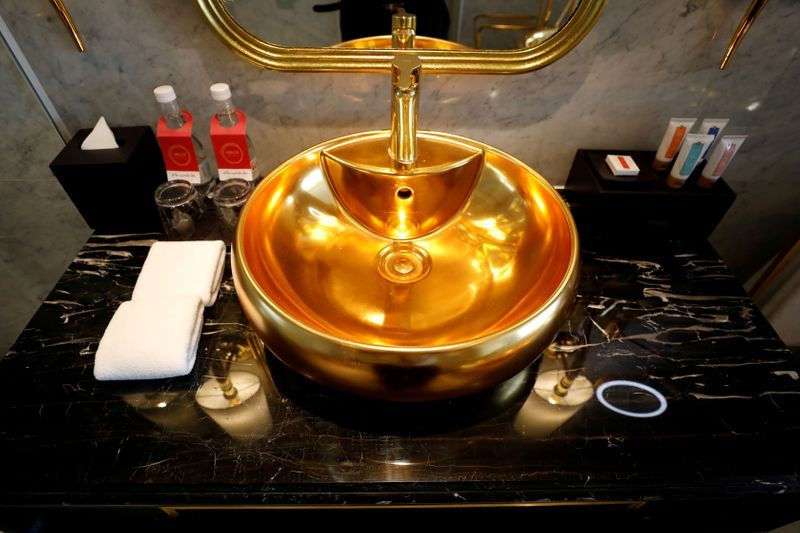 A gold-plated bathroom sink is seen in the newly inaugurated Dolce Hanoi Golden Lake luxury hotel, after the government eased nationwide social distancing following the global outbreak of the coronavirus disease (COVID-19), in Hanoi, Vietnam. Photo: Reuters