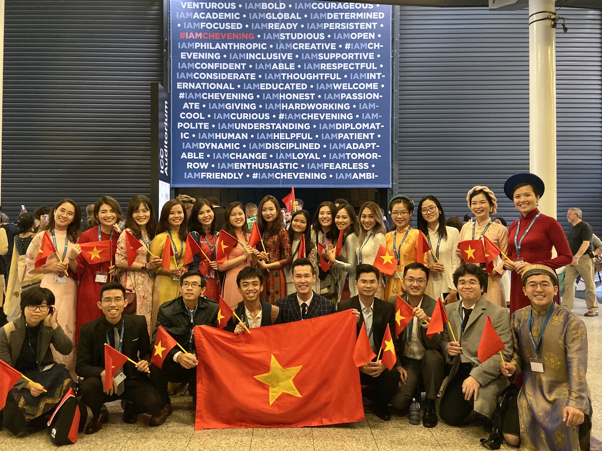 Vietnamese students in the UK are seen in a supplied photo.