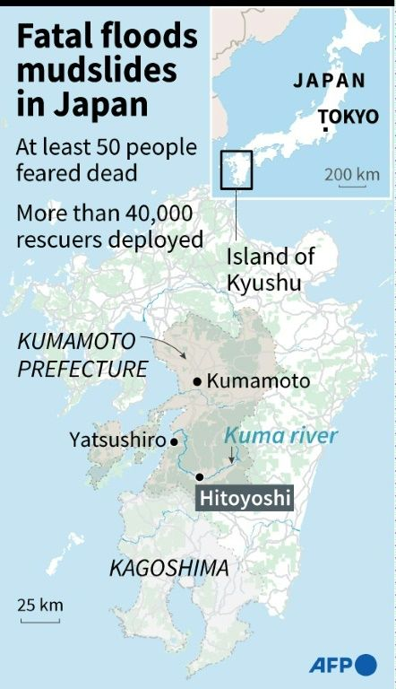 A map shows areas affected by torrential rains in Japan, July 7, 2020. Photo: AFP