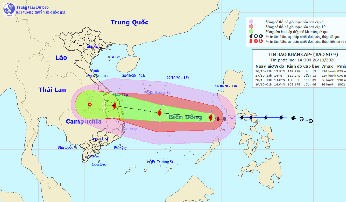 Molave enters East Vietnam Sea, becomes country's ninth storm this year