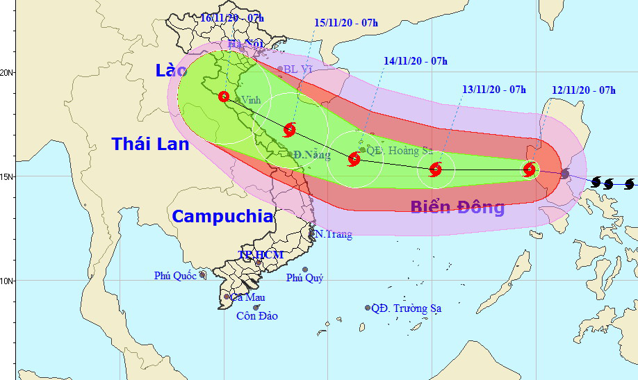 Typhoon Vamco enters East Vietnam Sea
