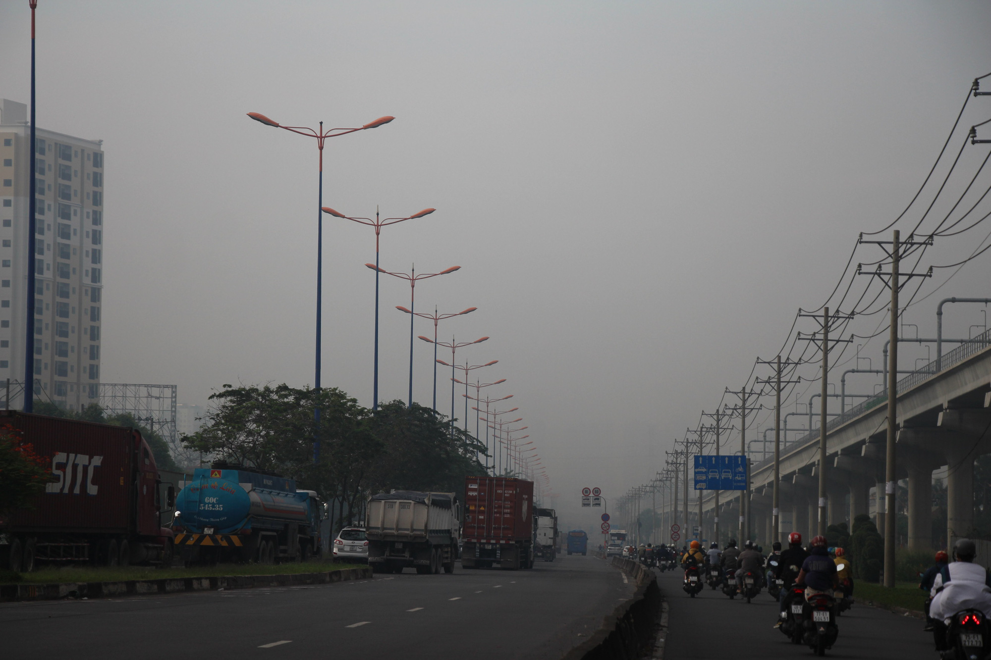 High humidity results in foggy sky over Ho Chi Minh City