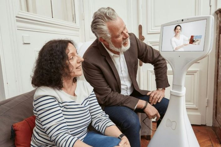 Companions robots such as this one from the French startup Cutii have been helping seniors increasingly isolated during the Covid-19 pandemic. Photo: AFP