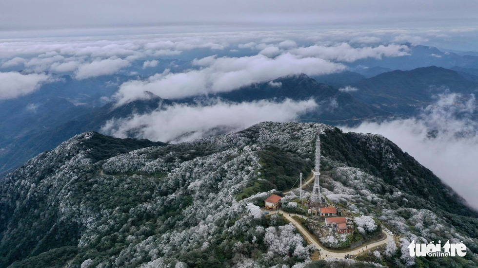Phjia Oac Mountain range in Cao Bang Province was covered in frost on January 9, 2021. Video: Ha Cuong
