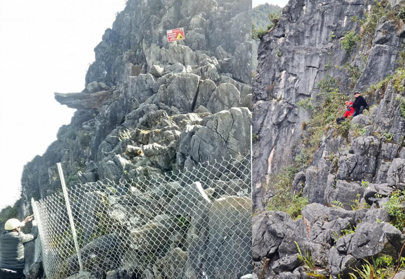 """The """"death cliff"""" in Pai Lung Commune of Ha Giang province is fenced off after a fall accident. Photo: H. Giang / Tuoi Tre"""