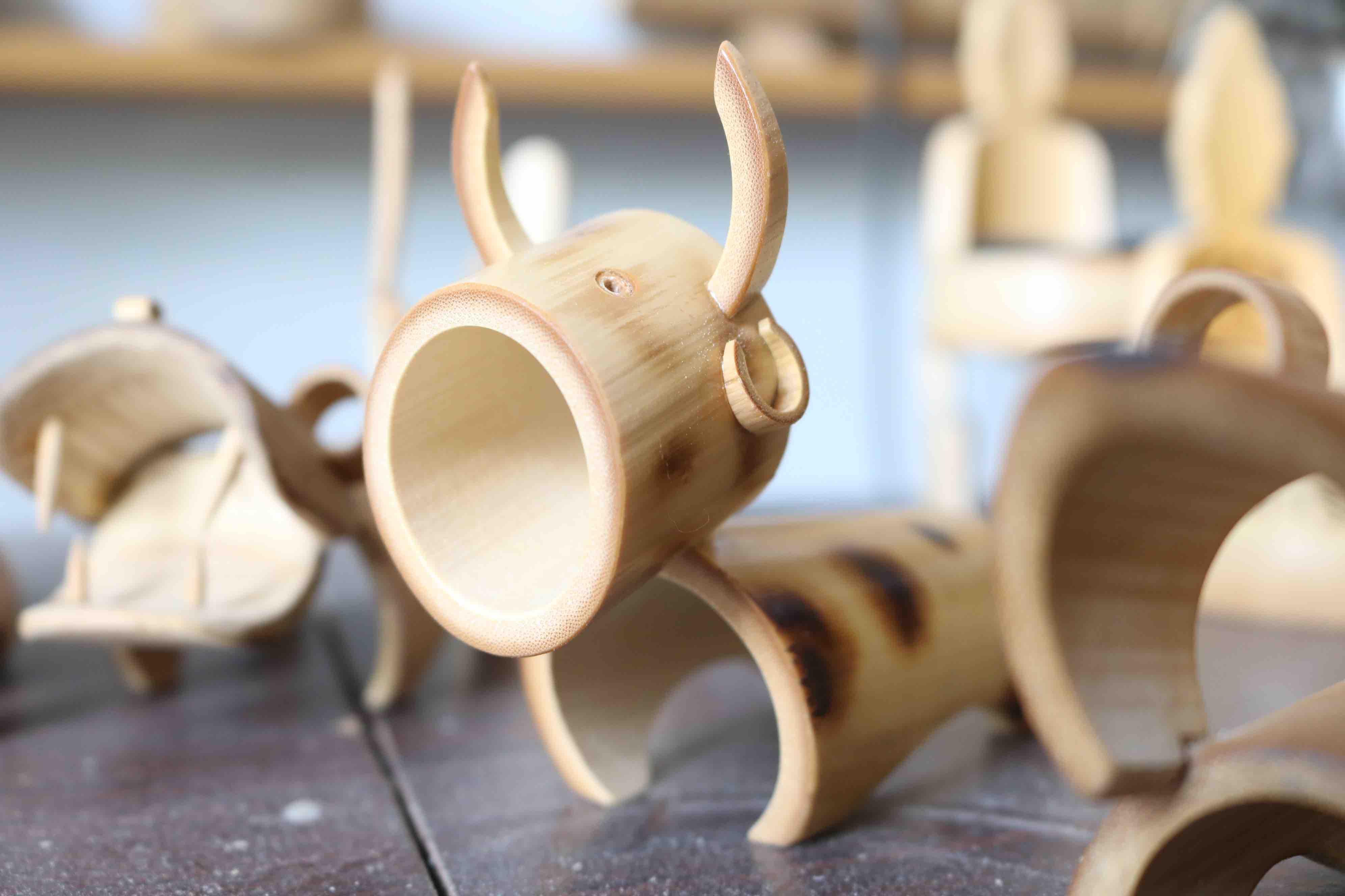 A bamboo buffalo, the symbol representing the upcoming Lunar New Year. Photo: Hoang An / Tuoi Tre