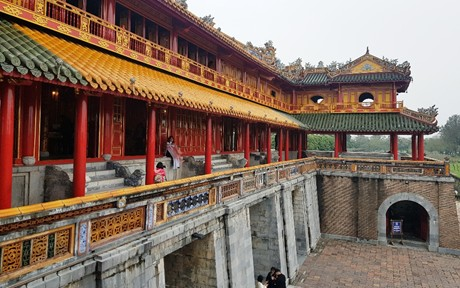 The Meridian Gate's upper pavilion, known as Lau Ngu Phung (Pavilion of Five Phoenixes), is pictured at the Imperial City located within the citadel of Hue in Thua Thien-Hue Province, Vietnam, after its restoration. Photo: VGP