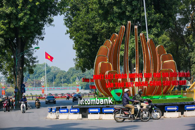 A roundabout is decorated to mark the 13th National Party Congress in Hanoi. Photo: Vietnam News Agency
