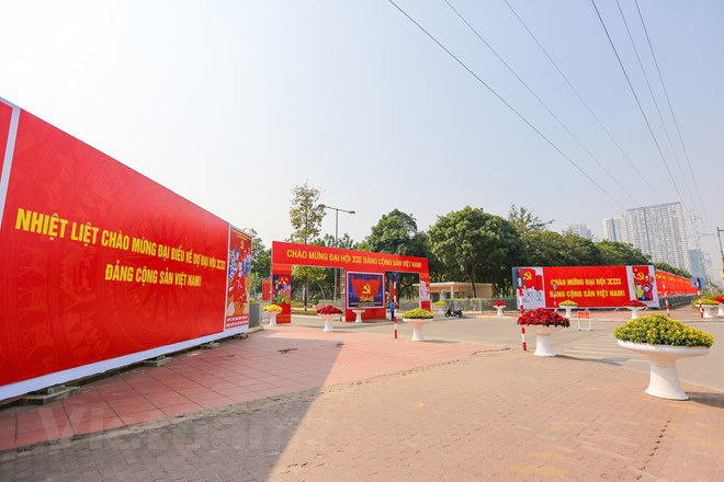 Banners are placed in front of the National Convention Center in Hanoi. Photo: Vietnam News Agency