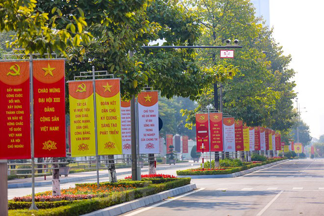 Banners are hung along a street in Hanoi to welcome the 13th National Party Congress. Photo: Vietnam News Agency
