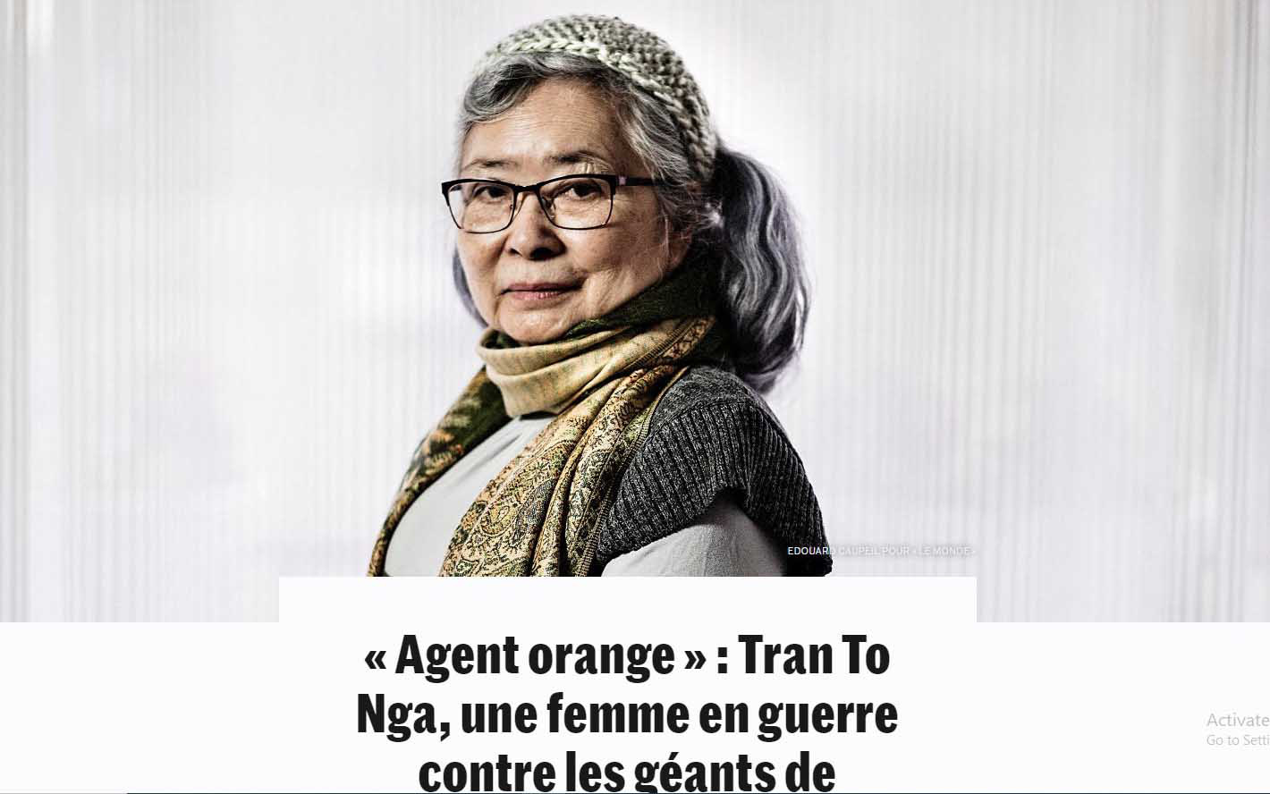 A photo of Tran To Nga is posted along with an article by Le Monde on January 19, 2021.