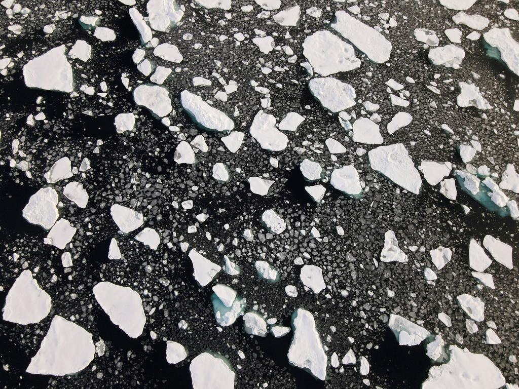 An aerial view of floating ice taken by a drone launched from Greenpeace's Arctic Sunrise ship in the Arctic Ocean, September 15, 2020. Photo: Reuters