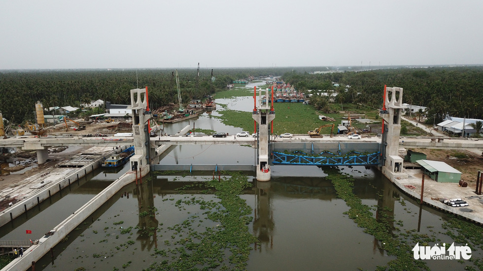 The Cai Be sluice gate project is pictured in Kien Giang Province, Vietnam, February 5, 2021. Photo: Chi Quoc / Tuoi Tre