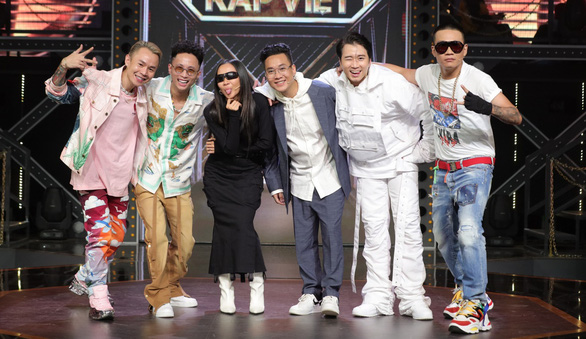 A supplied photo shows from left to right Rap Viet's coach Binz, judge Rhymastic, coach Suboi, judge Justatee and coaches Karik and Wowy.