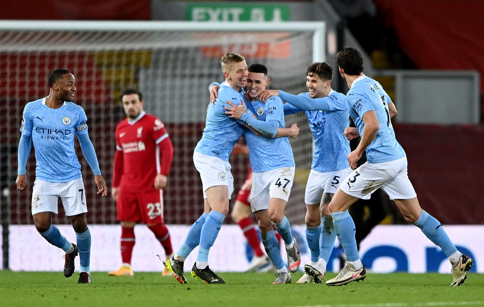 Manchester City's Phil Foden celebrates scoring their fourth goal with teammates. Photo: Reuters