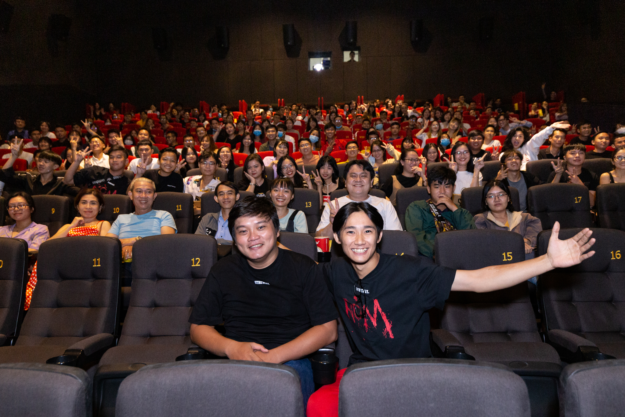 Moviegoers are pictured at a 'Rom' movie screening in this supplied photo.