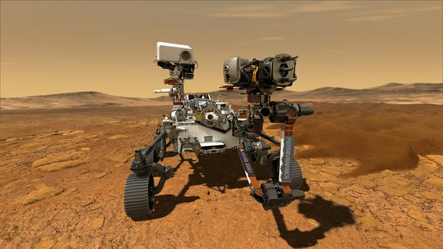 NASA's Perseverance Mars rover, the biggest, heaviest, most advanced vehicle sent to the Red Planet by the National Aeronautics and Space Administration (NASA), is seen on Mars in an undated illustration provided by Jet Propulsion Laboratory in Pasadena, California. Photo: NASA/JPL-Caltech/Handout via REUTERS